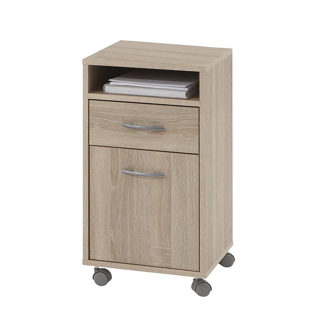 Home 24 - Caisson à tiroirs à roulettes finch - imitation chêne, home24 office