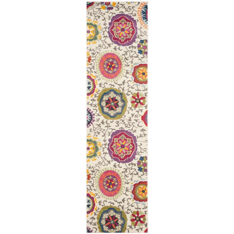Loper Kevin - kunstvezels - zandkleurig/roze - 66x243cm, Safavieh