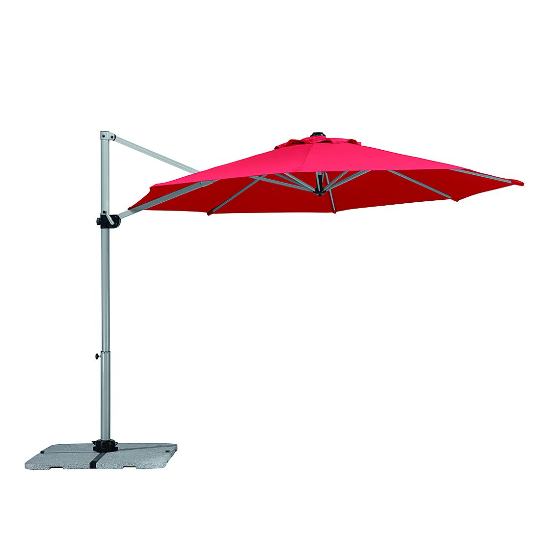 Sonnenschirm Samos 300 - Aluminium/Polyester - Silber/Rot, Schneider Schirme