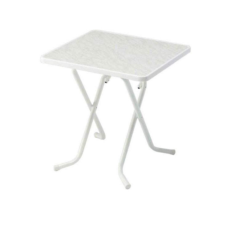 Home 24 - Table pliante primo - carré - tube en acier / matériau synthétique blanc, best freizeitmöbel