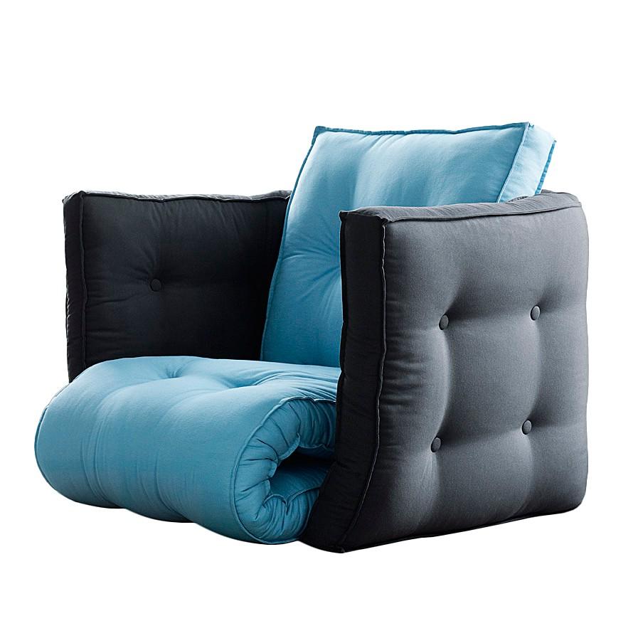 Fauteuil futon convertible Dice - Bleu pétrole / Gris foncé, Karup