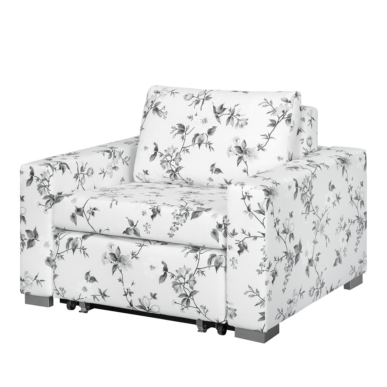 Fauteuil convertible Latina VII - Matière tissée - Motif floral - Blanc / Gris, roomscape