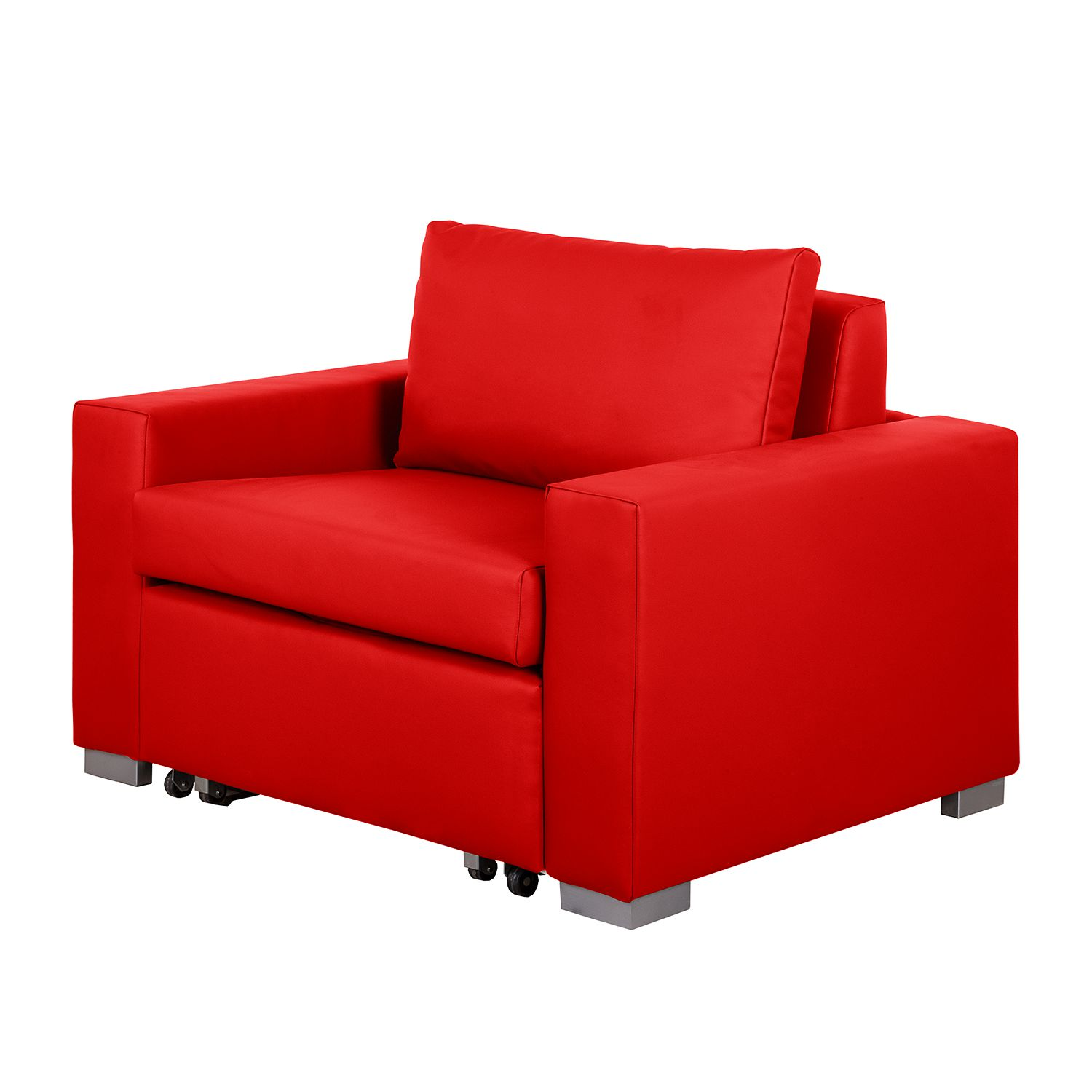 Fauteuil convertible Latina IV - Imitation cuir - Rouge, mooved