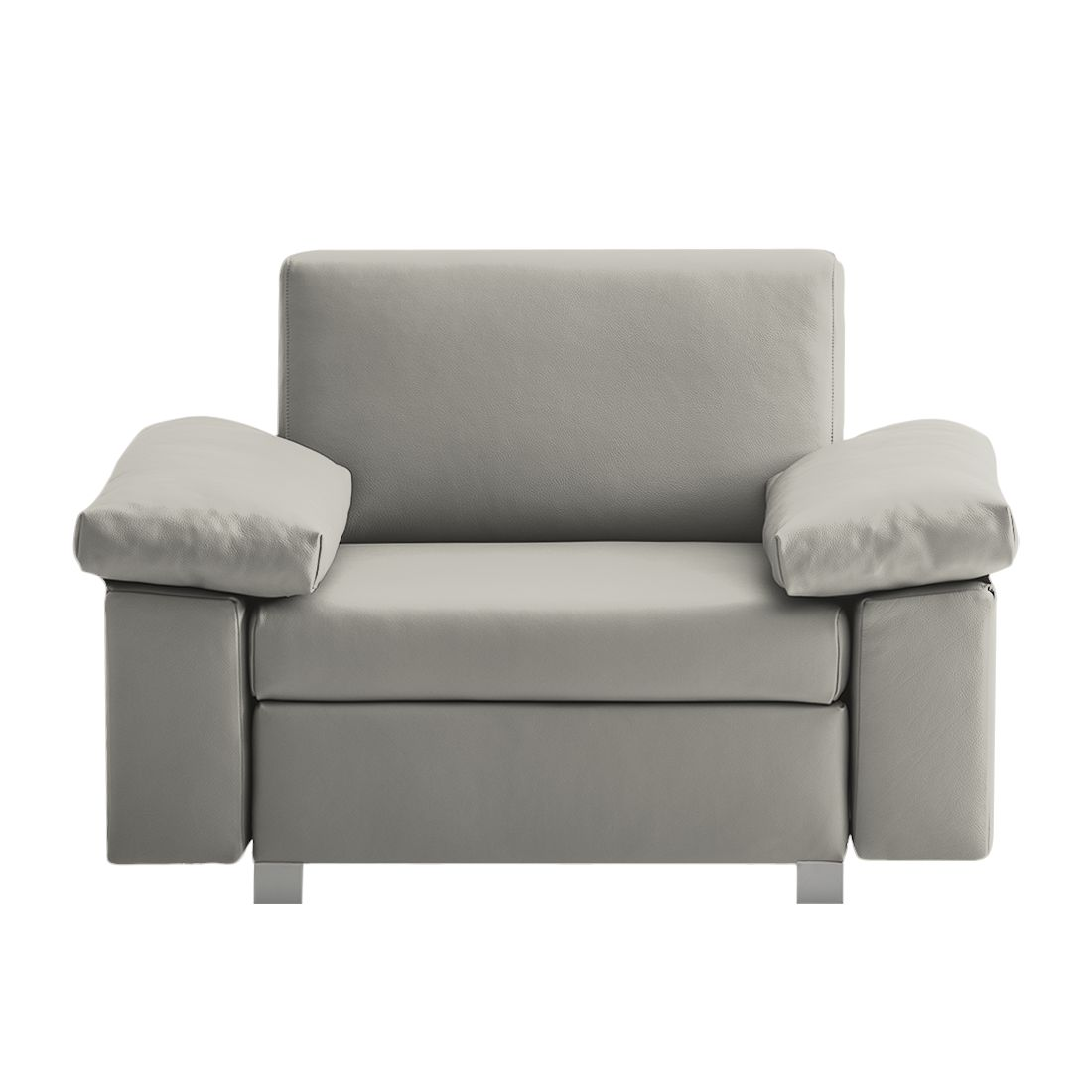 Fauteuil convertible Plaza - Cuir véritable - Gris - Types d'accoudoir rabattable, chillout by Franz