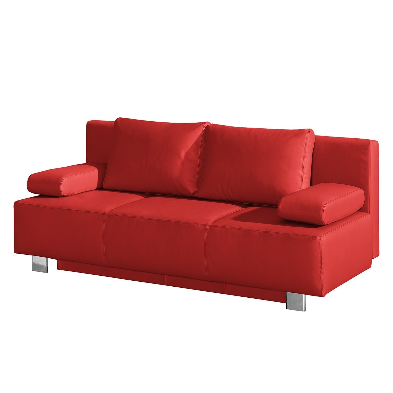 Canapé convertible Dayly - Cuir véritable - Rouge, Fredriks
