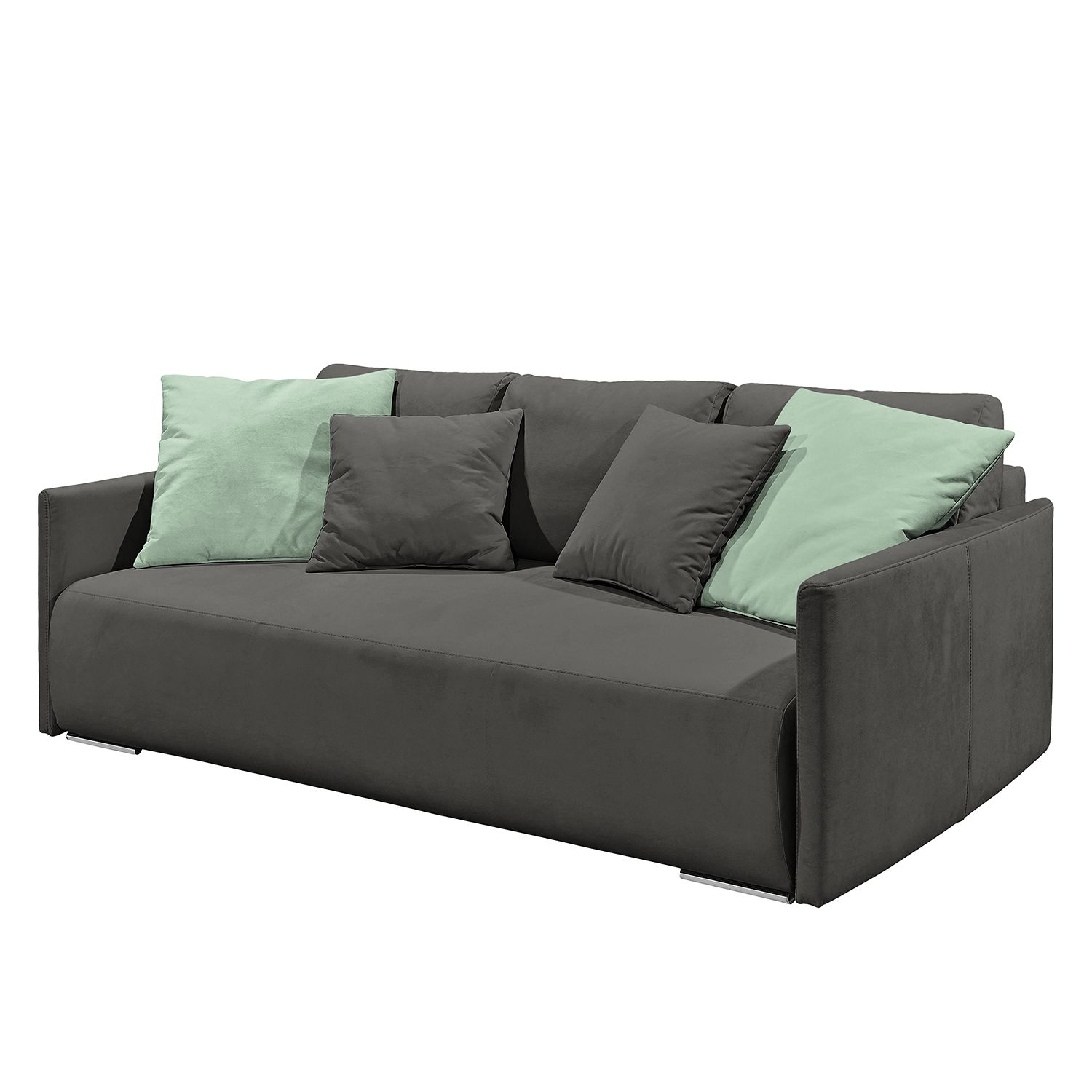 Canapé convertible Espas - Tissu - Anthracite / Vert menthe, mooved