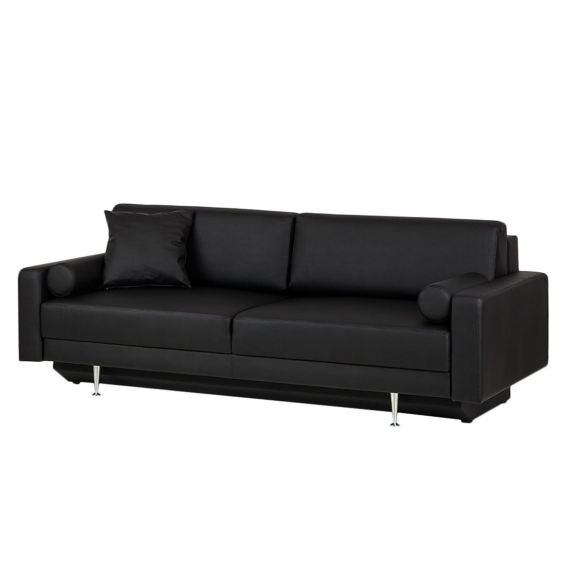 Canapé convertible Laval - Cuir synthétique noir, loftscape
