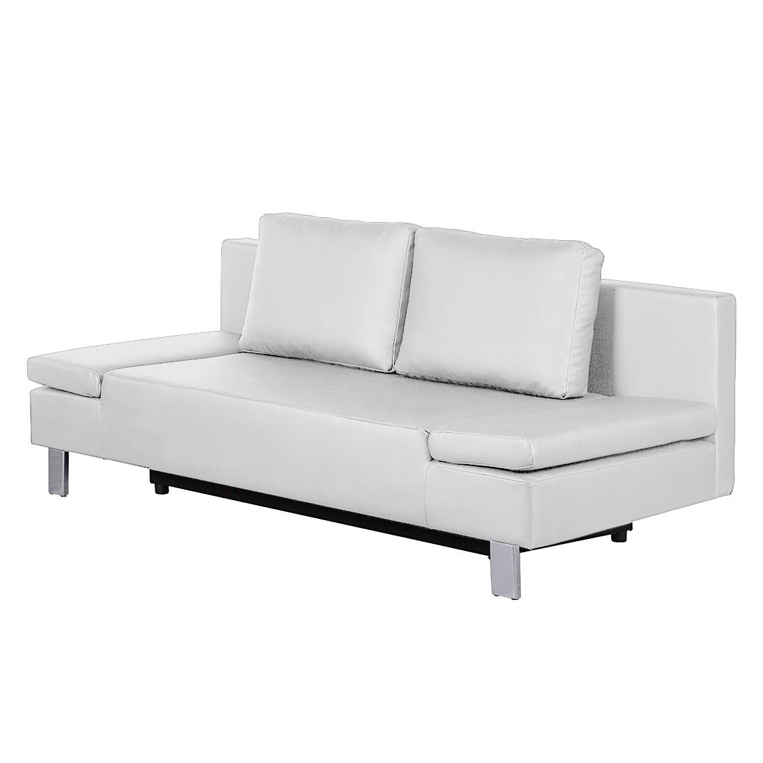 Canapé convertible Lodi - Imitation cuir - Blanc, roomscape