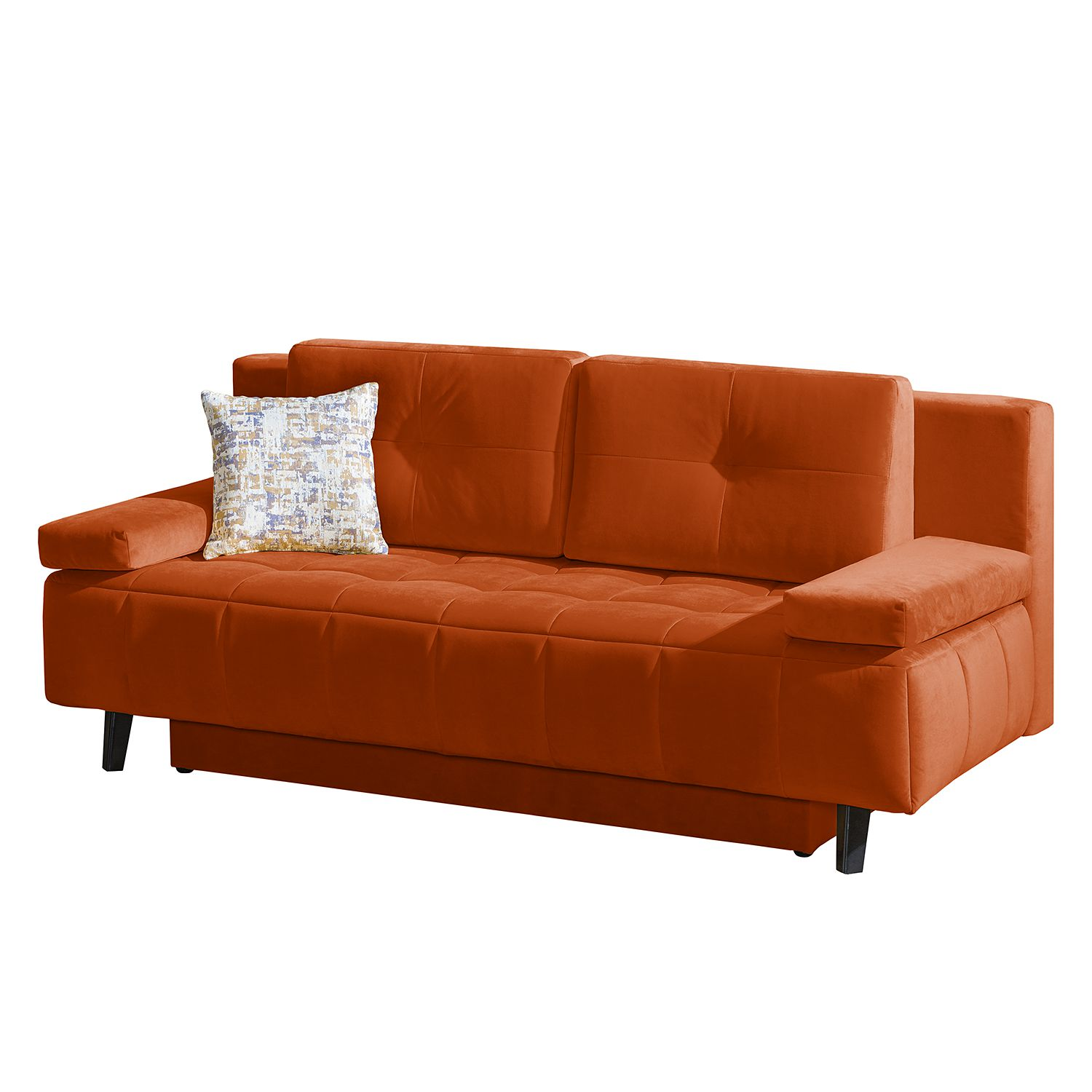 Canapé convertible Loppi - Velours - Orange, Fredriks