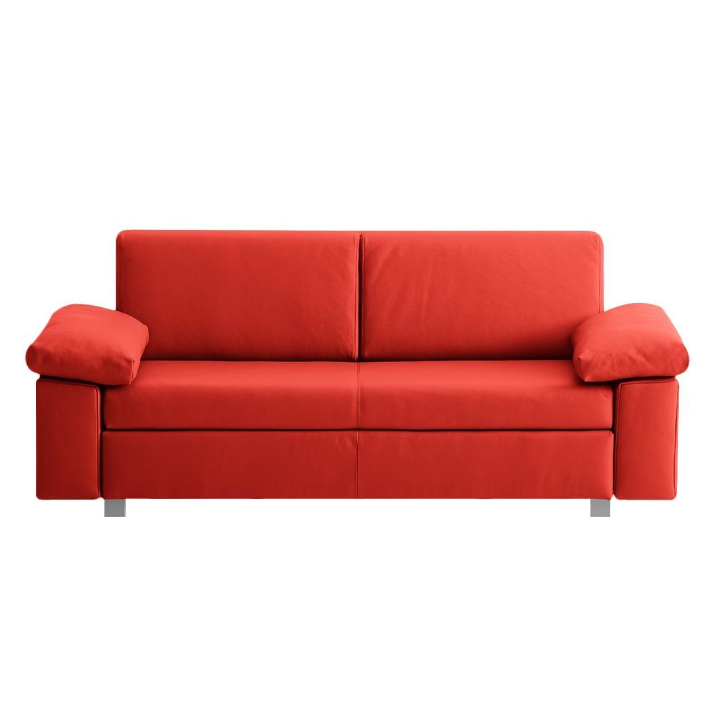 schlafsofa plaza echtleder rot 192 cm ma e breite 192 cm h he 78 cm. Black Bedroom Furniture Sets. Home Design Ideas