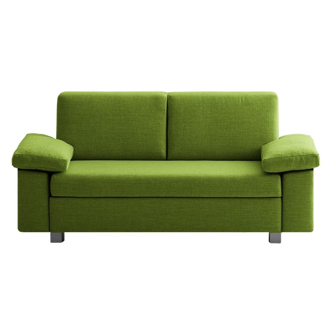 Slaapbank Plaza - geweven stof - Groen - 192cm - Opklapbare armleuningen, chillout by Franz Fertig