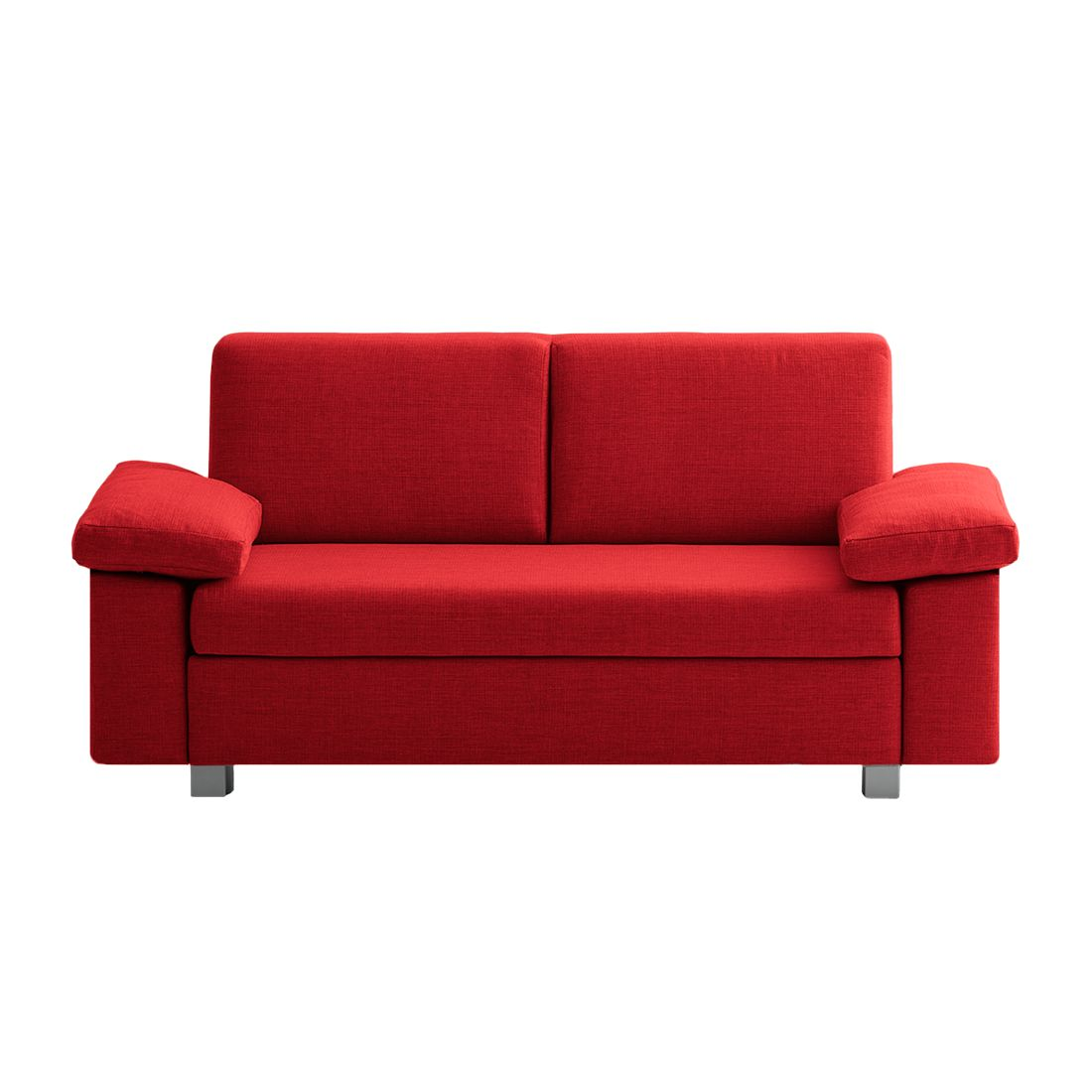 Canapé convertible Plaza - Tissu - Rouge - 172 cm - Types d'accoudoir rabattable, chillout by Franz
