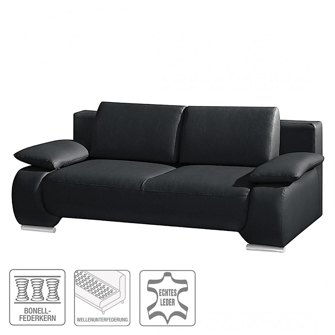 Canapé convertible Ramea - Cuir véritable noir, Fredriks