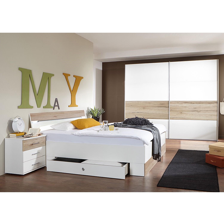 Chambre à coucher Cheep (4 éléments) - Blanc alpin / Imitation chêne de San Remo, Wimex