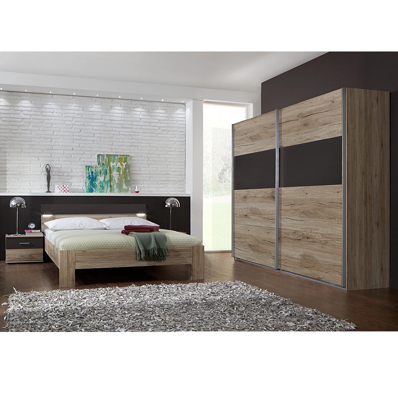 Combinaison de chambre à coucher Saxman II(4 éléments)- Imitation chêne de San Remo / Lava, Wimex