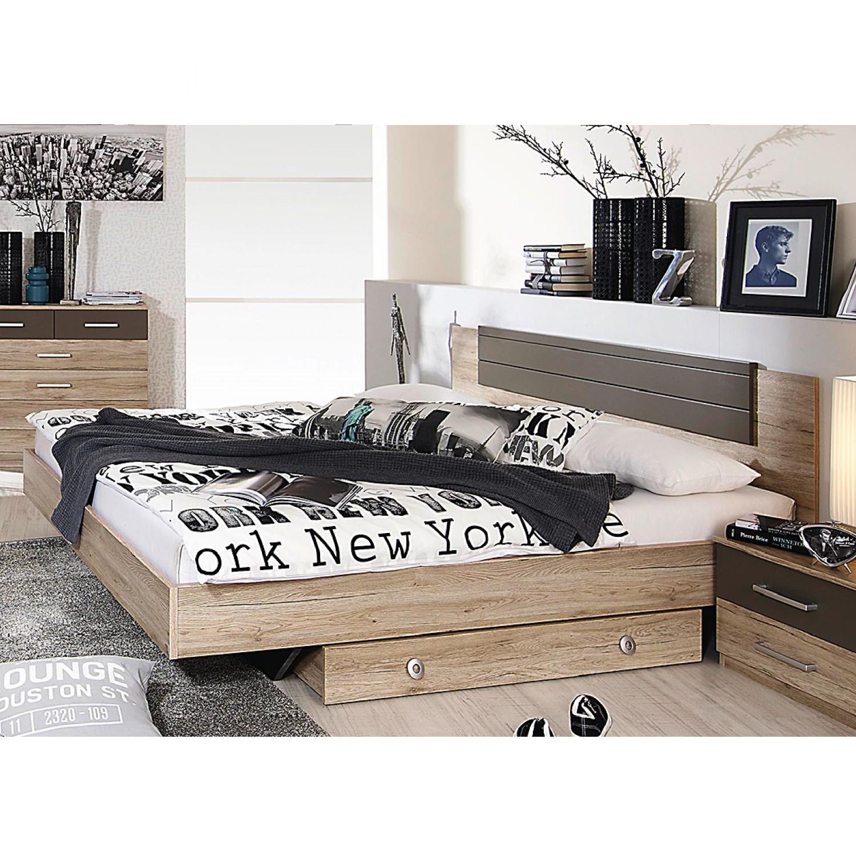 Ensemble de chambre à coucher Barcelona (4 éléments) - Chêne San Remo / Gris lave, Rauch Packs