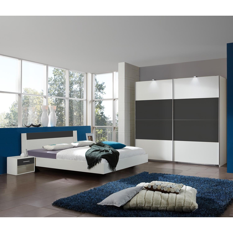 Ensemble de chambre à coucher (4 éléments) - Blanc alpin / Anthracite - 180 x 200cm - Blanc alpin /