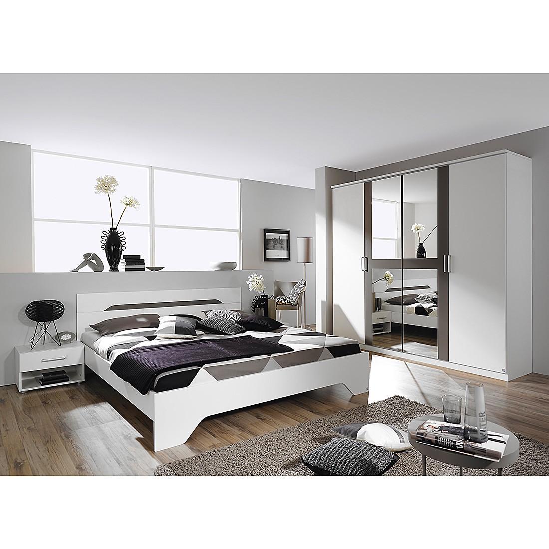 Ensemble de chambre à coucher Rubi I (4 éléments) - Blanc alpin / Gris lave - 160 cm x 200 cm, Rauch
