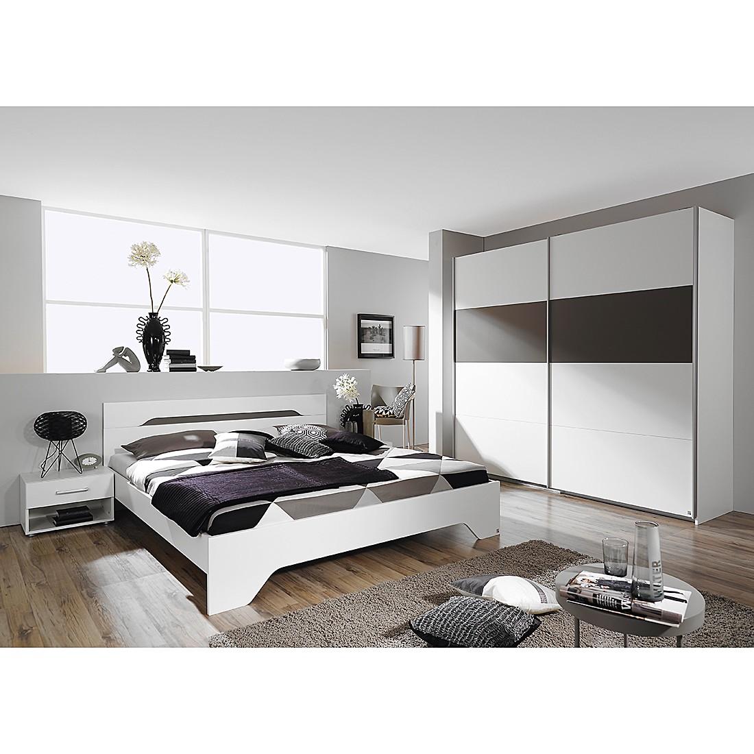 Ensemble de chambre à coucher Rubi II (4 éléments) - Blanc alpin / Gris lave - 180 cm x 200 cm, Rauc