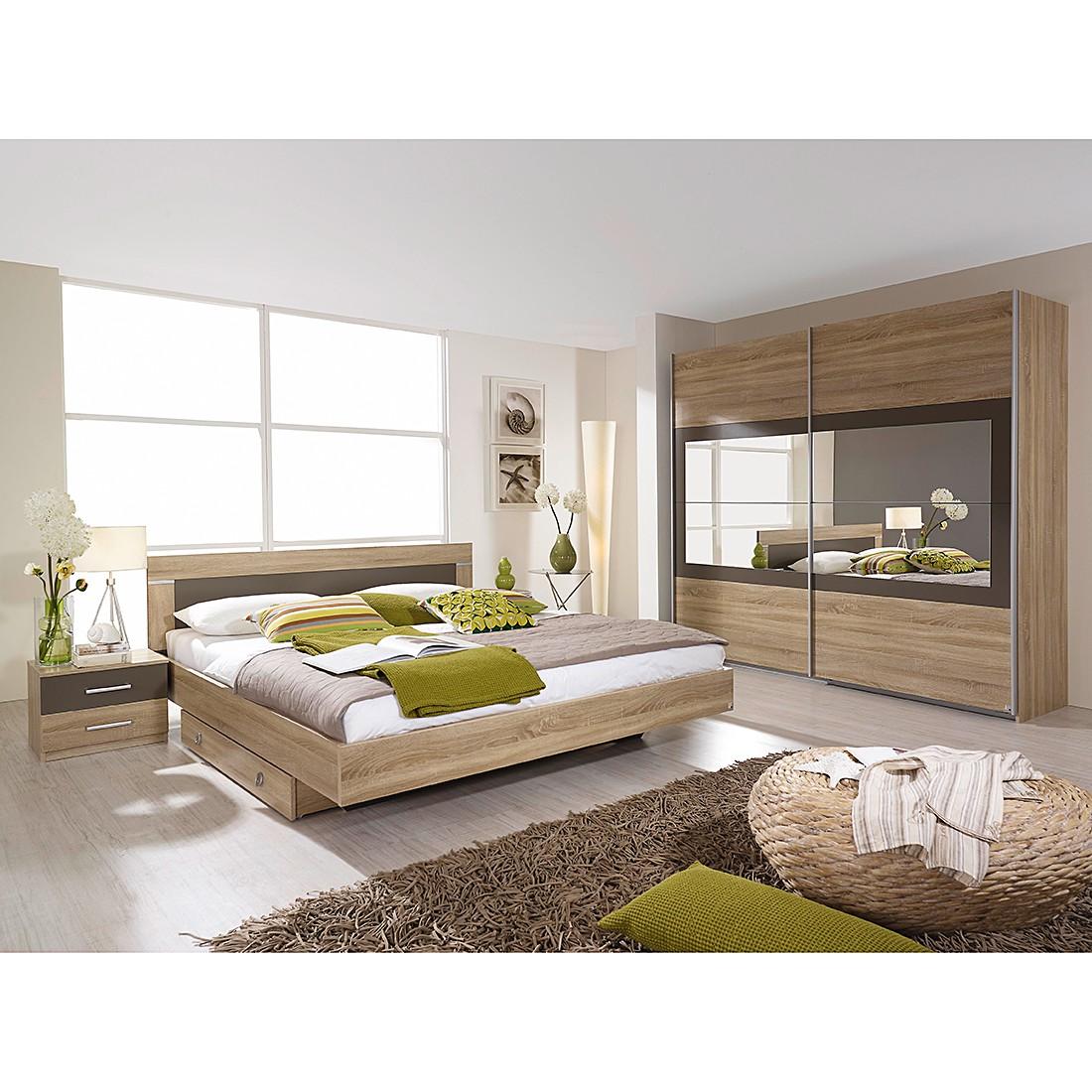 Slaapkamerset Venlo (4-delig) - sonoma eikenhoutkleurig/afwerking in lavagrijs - ligoppervlak: 160x200cm - kastbreedte: 226cm, Rauch Packs