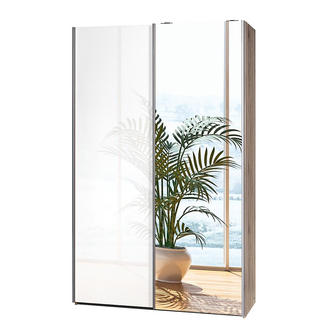 schwebet renschrank soft smart 120 cm eiche sanremo dekor hochglanz wei 1 spiegelt r. Black Bedroom Furniture Sets. Home Design Ideas