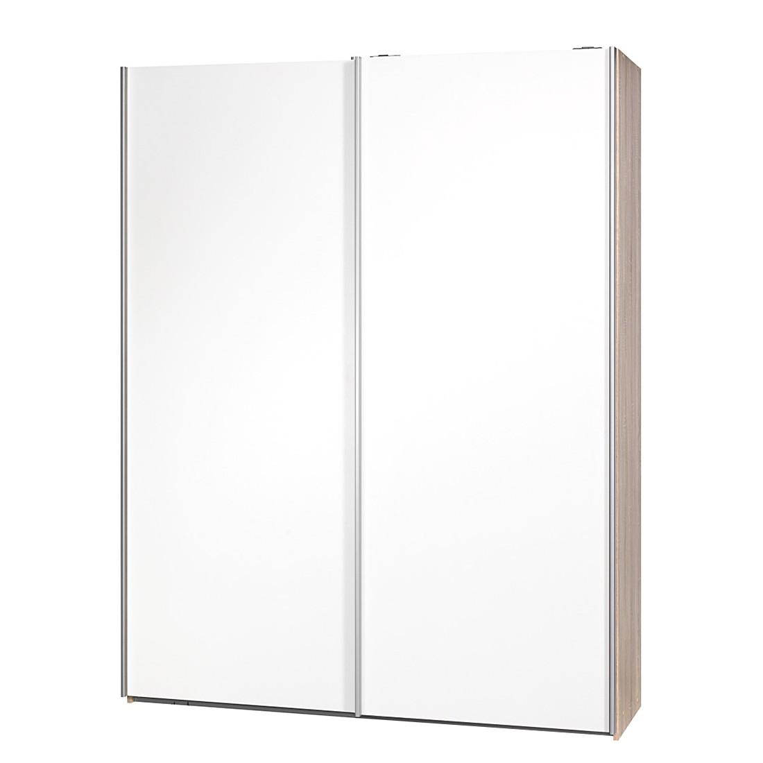 Schuifdeurkast Soft Smart - 150cm - Eikenhouten look - Wit - Zonder spiegeldeuren, Cs Schmal