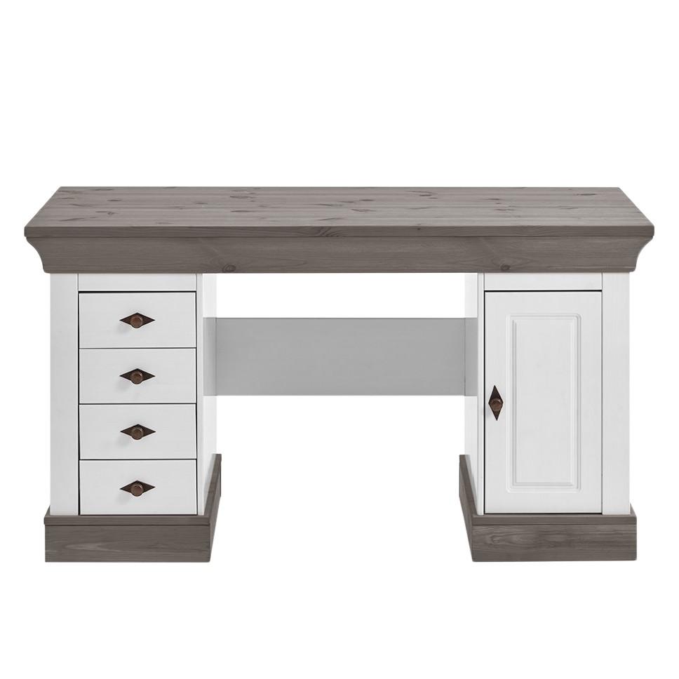 Maison belfort bureau bergen pin massif blanc gris for Bureau pin massif blanc
