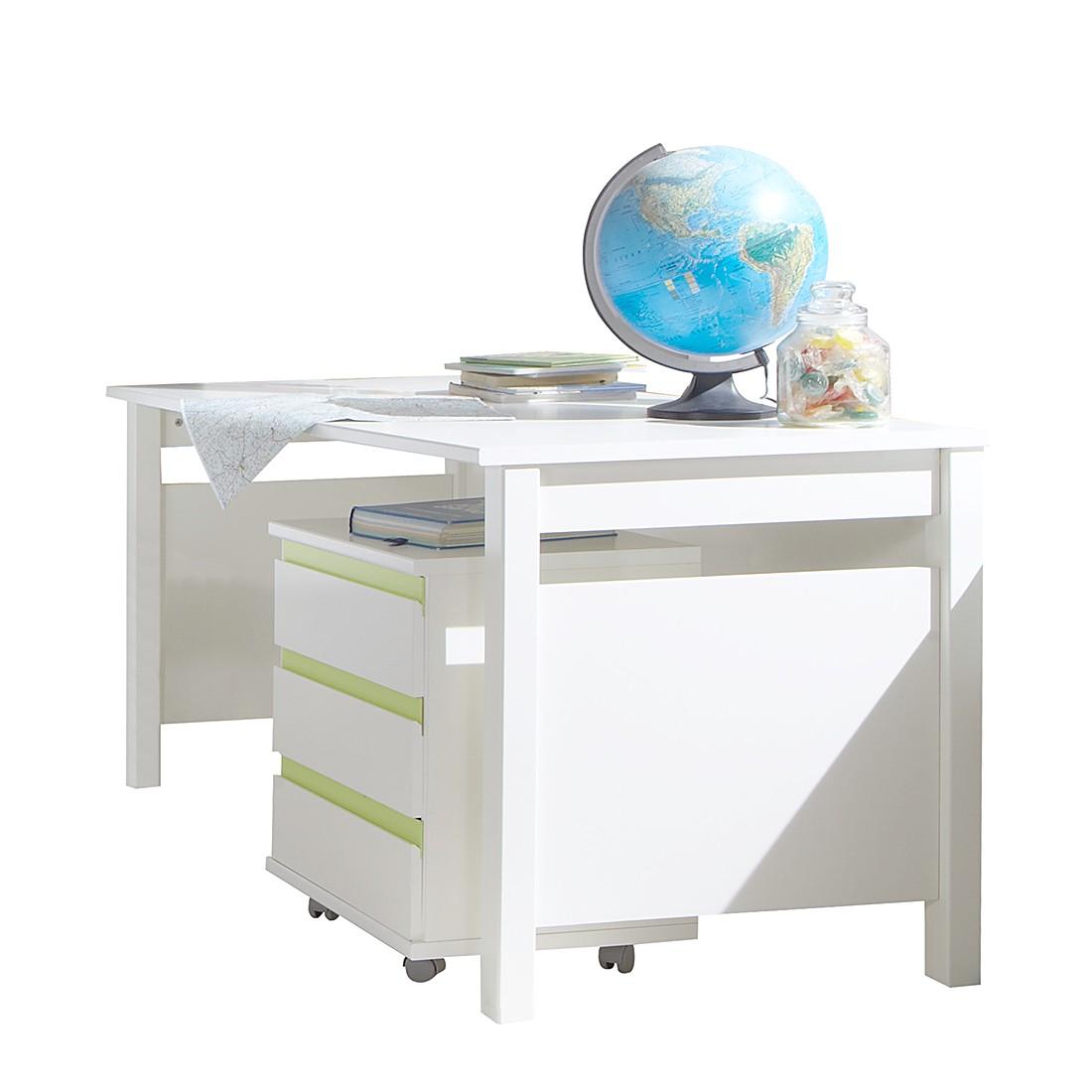 Home 24 - Bureau bibo - blanc alpin / vert pomme - sans caisson, wimex