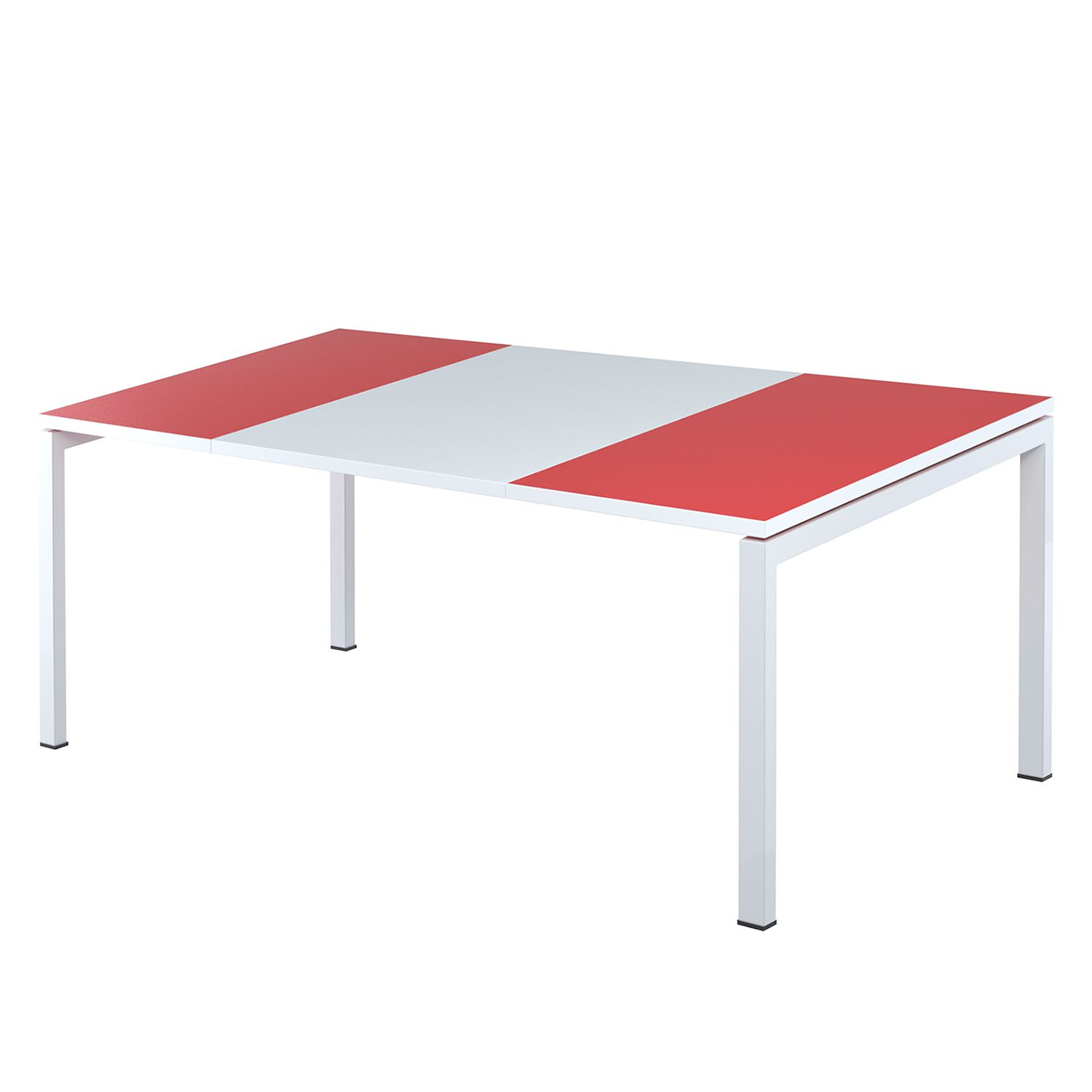 Bureau easyDesk - Wit/rood - 160x80cm, easy Office und Paperflow