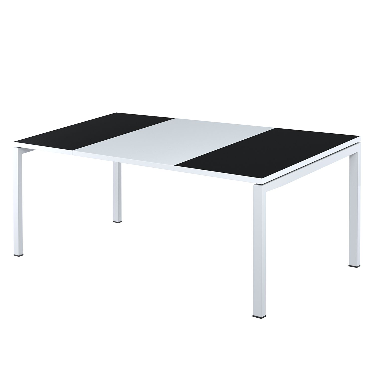 Scrivania easyDesk - Bianco / Nero - 180 x 80 cm, easy Office und Paperflow
