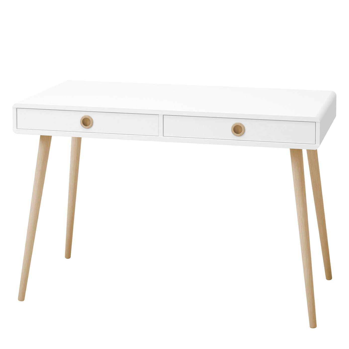 Schreibtisch Janos - Eiche teilmassiv - Weiß / Eiche - 114 x 57 cm, Steens