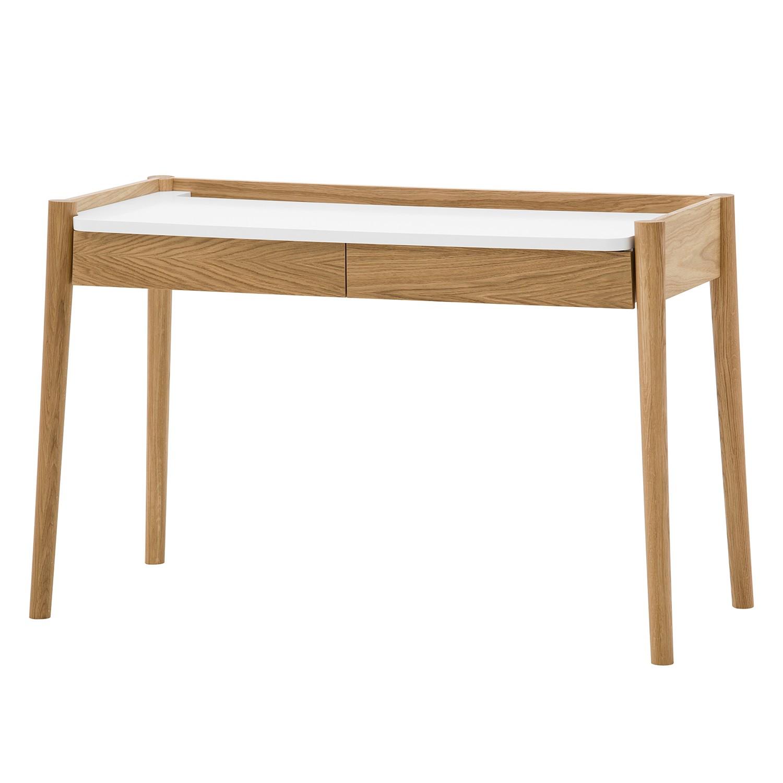 Scrivania Lenvik - legno lamellare di quercia - quercia / bianco, Morteens