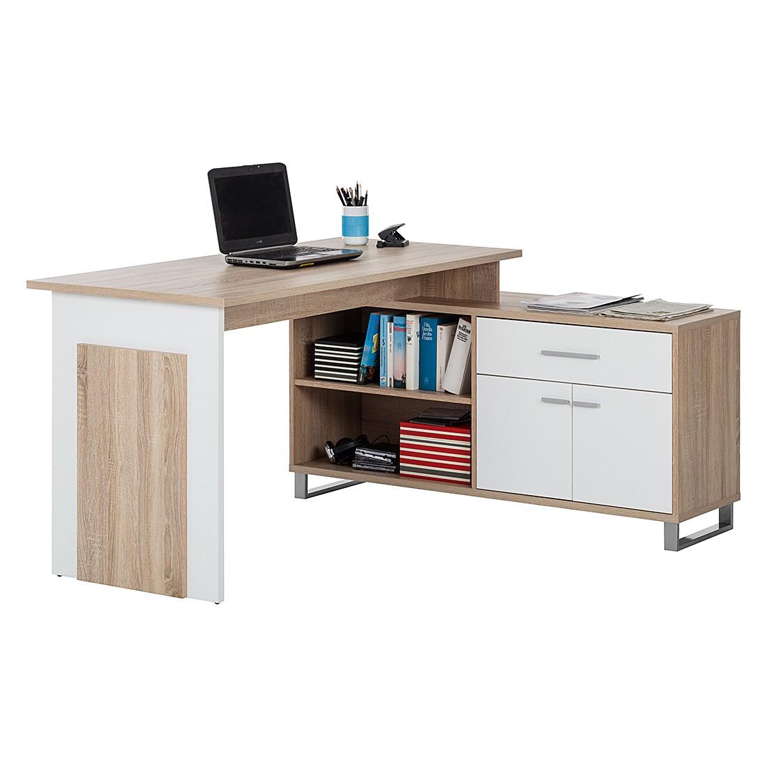 Bureau Maxim - eikenhoutkleurig/wit, home24 office