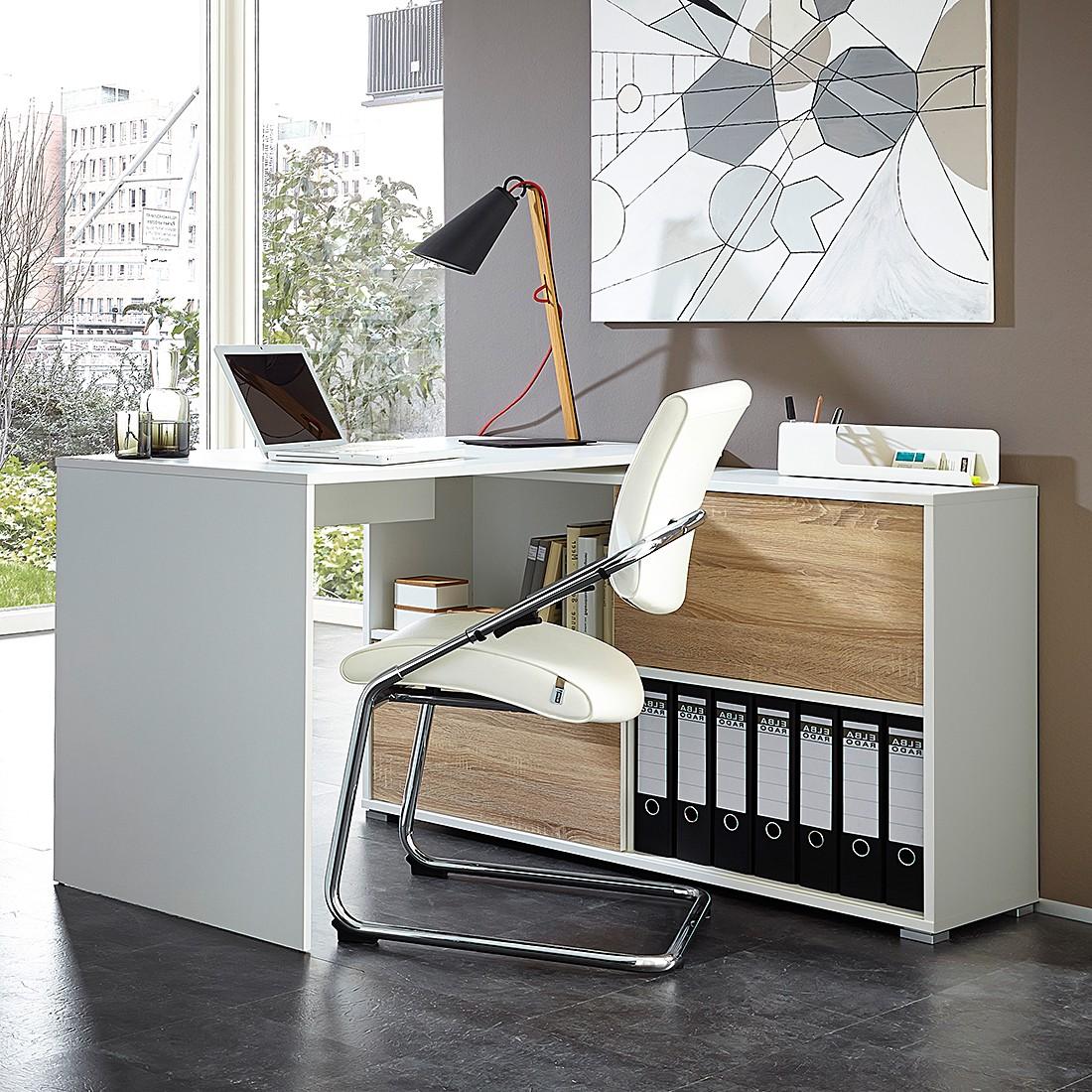 home24 office schreibtisch mingle wei eiche sonoma dekor b rotisch tisch ebay. Black Bedroom Furniture Sets. Home Design Ideas