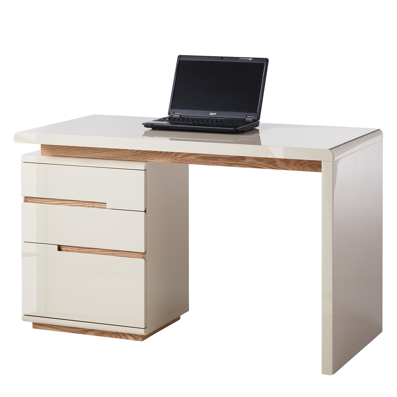 Schreibtisch Niya Hochglanz Beige Esche Bürotisch Arbeitstisch Pc