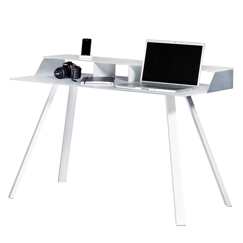 scrapeo table bureau en verre sur roulettes bon tat. Black Bedroom Furniture Sets. Home Design Ideas