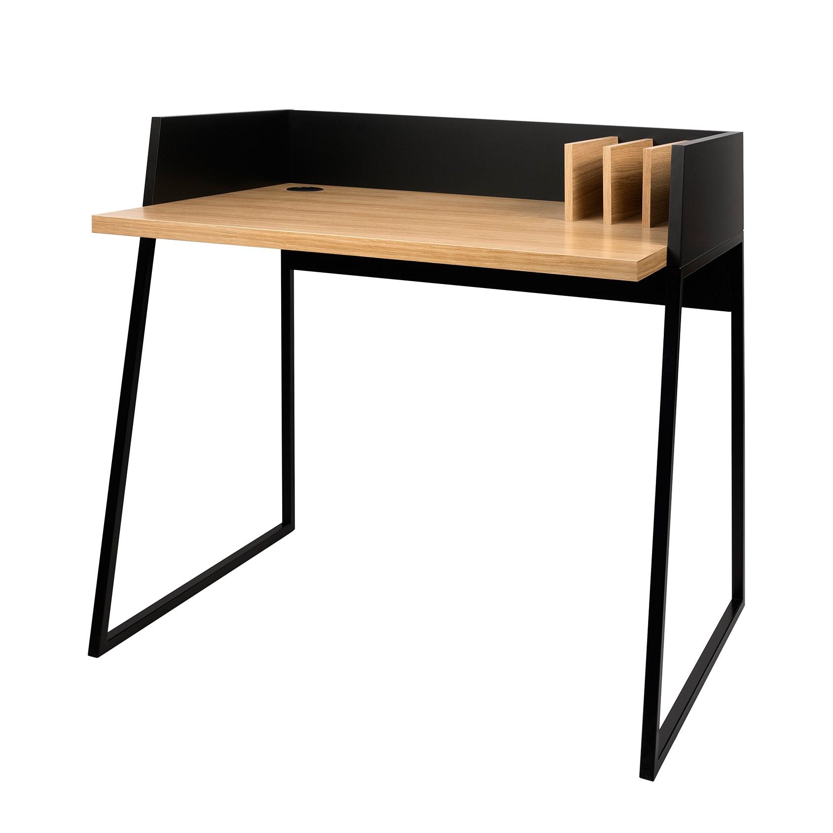 Schreibtisch Volga - Eiche / Schwarz, loftscape