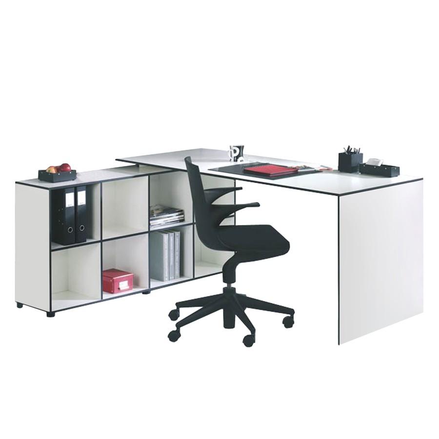 Elle bureau angle 180 80x60x75 cm blanc laque comparer for Bureau 70 cm profondeur
