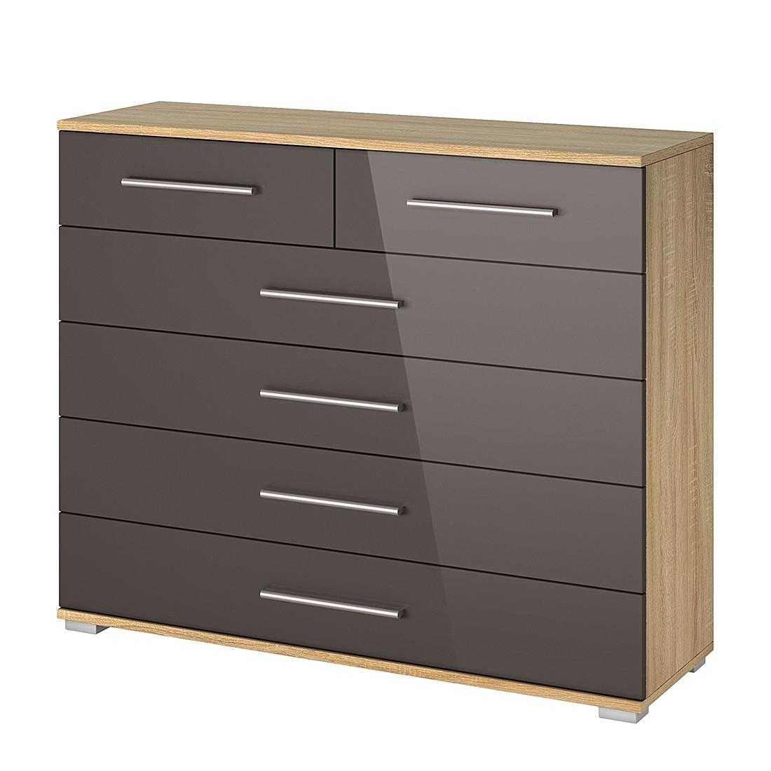Commode à tiroirs Quadra II - Imitation chêne de Sonoma / Gris lave brillant, Rauch Packs