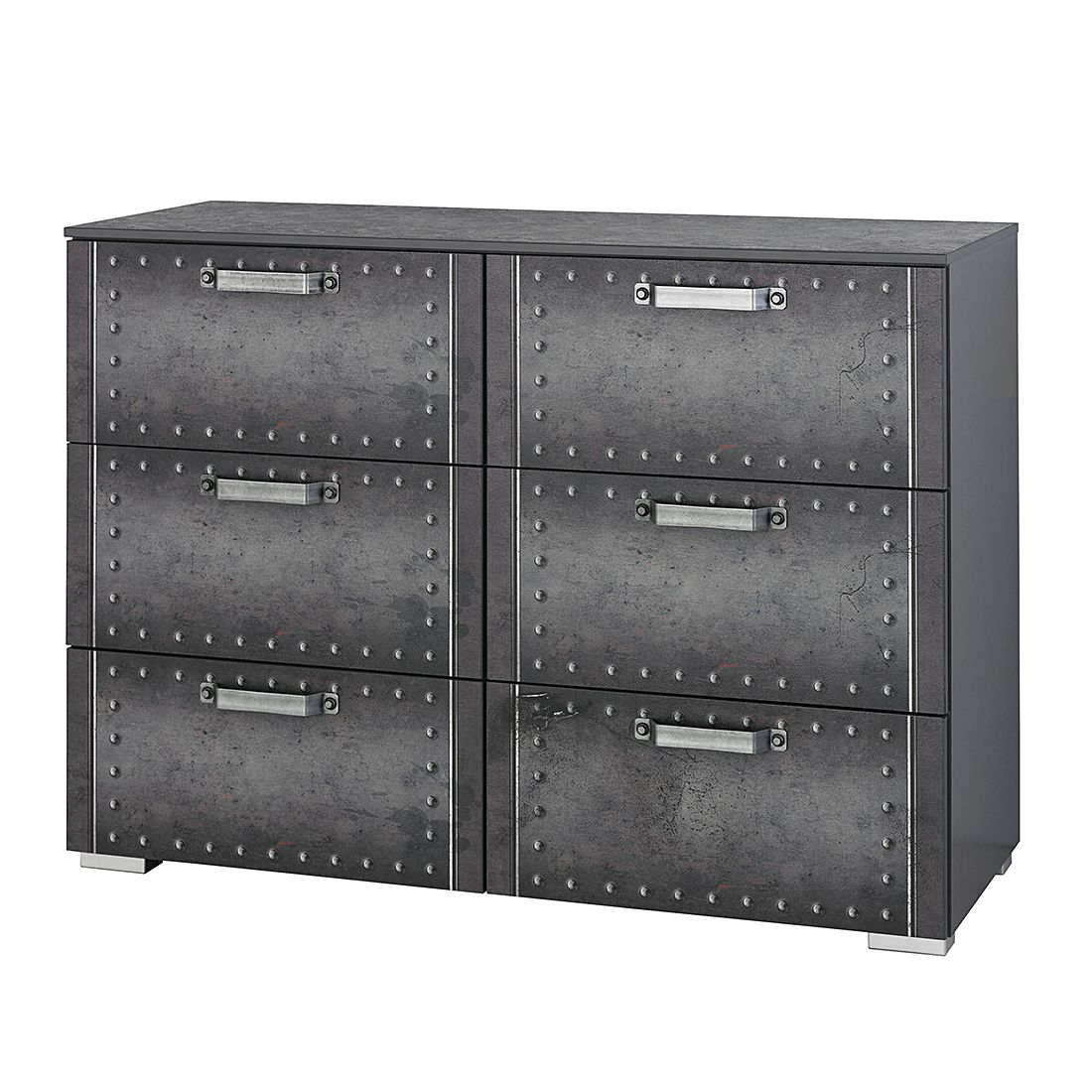 Commode à tiroirs Workbase I - Aspect imprimé industriel / Gris graphite, Rauch Select