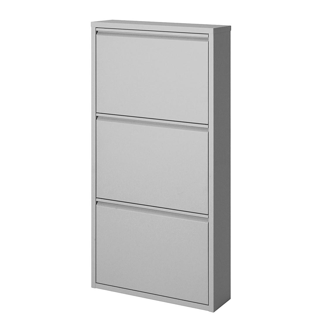 Armoire à chaussures Cabinet - Métal couleur aluminium - 3 abattants, loftscape