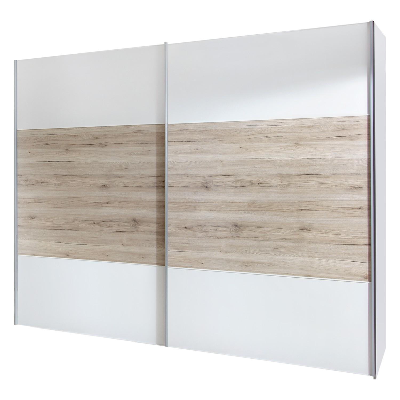 Armoire à portes coulissantes Arizona Sleep - Blanc alpin / Imitation chêne du Santana - 200 cm (2 p