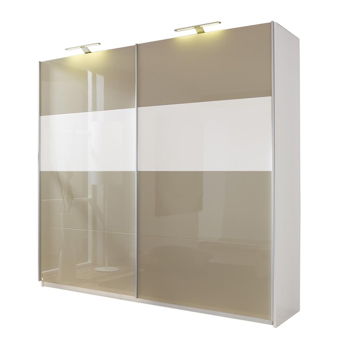 Armoire à portes coulissantes Beluga - Gris sable brillant / Blanc alpin - 136 cm (2 portes) - 223 c