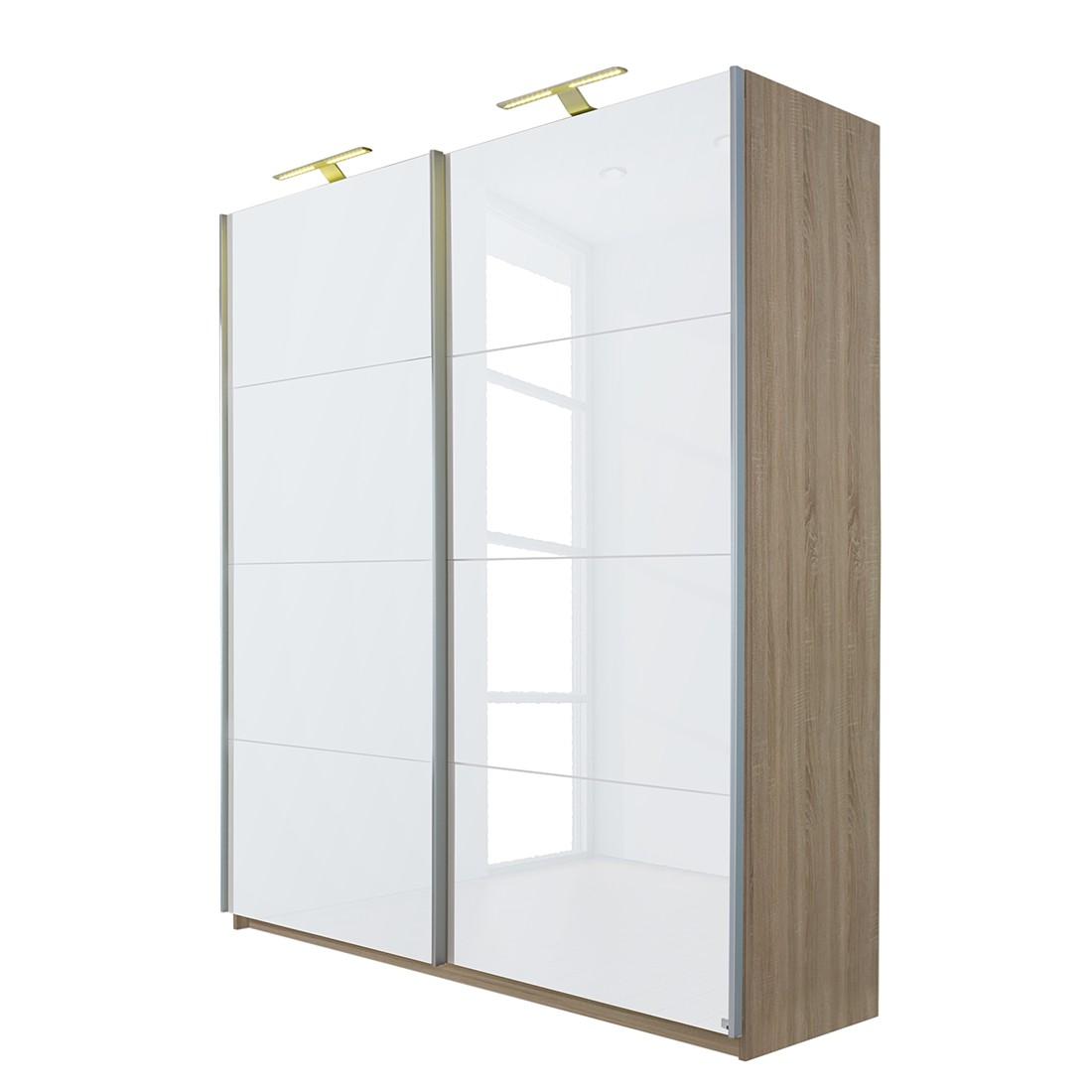 Armoire à portes coulissantes Beluga - Blanc brillant / Imitation chêne de Sonoma - 136 cm (2 portes