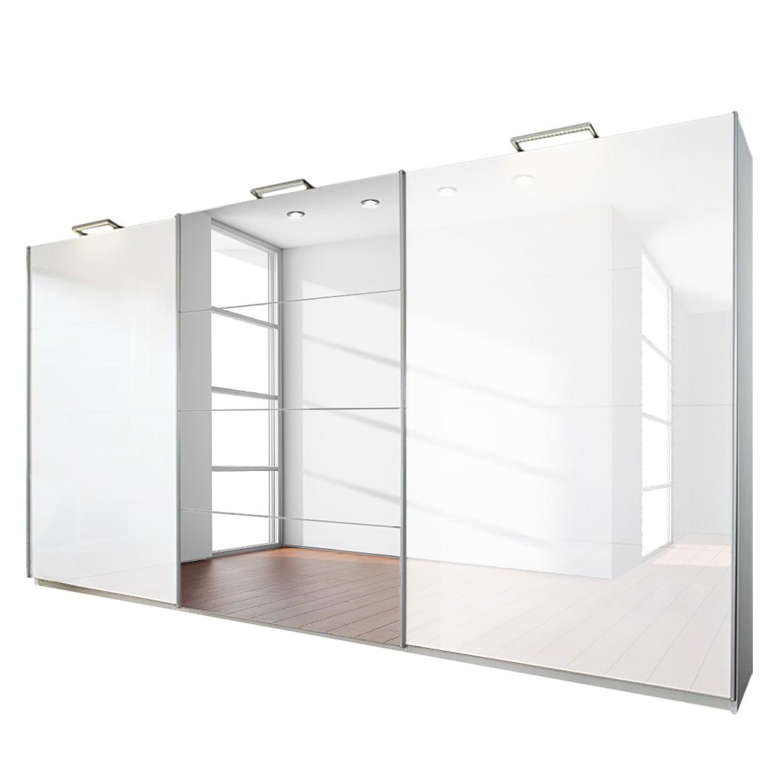 Armoire à portes coulissantes Beluga Plus - Blanc alpin / Blanc brillant - 315 cm (3 portes) - 223 c