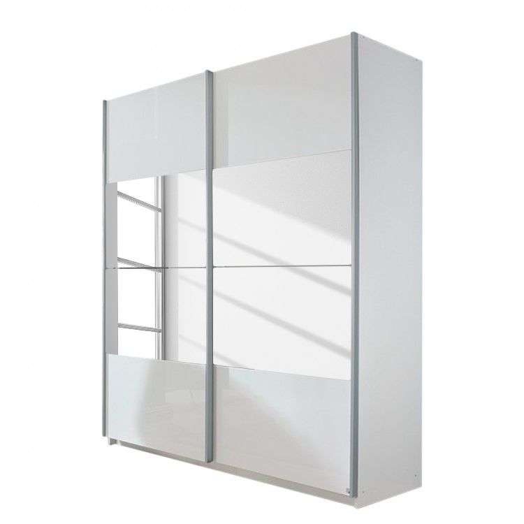 Zweefdeurkast Open Space - alpinewit/hoogglans wit spiegel - 225cm (2-deurs) - 223cm, Rauch Select
