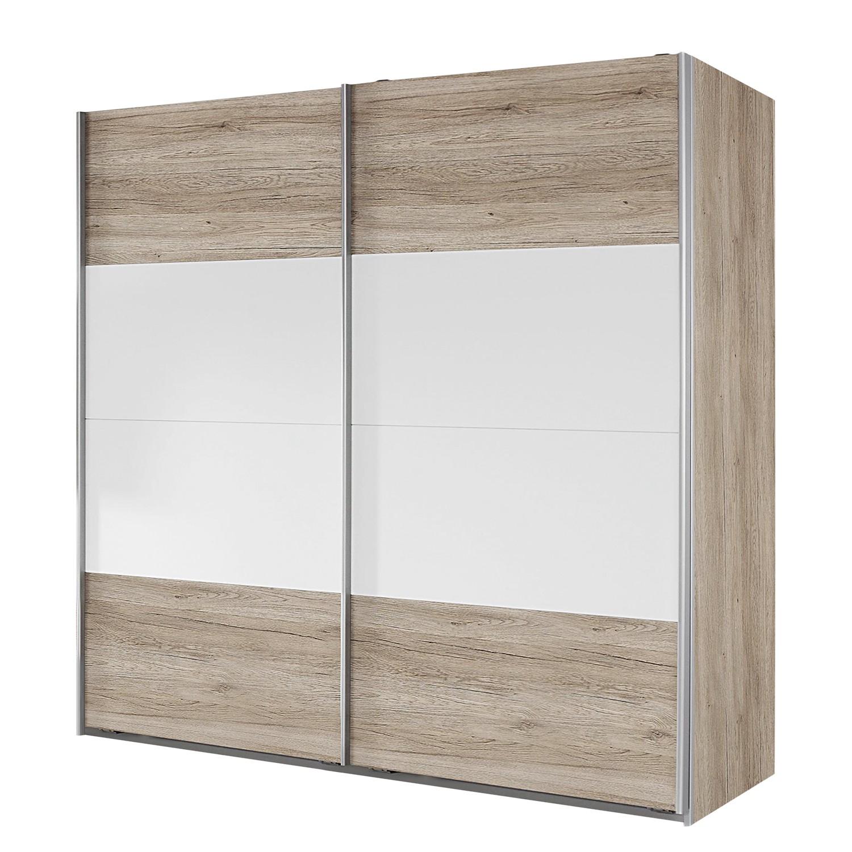 Armoire à portes coulissantes Bustas - Imitation chêne de San Remo clair / Blanc alpin - 226 cm (2 p