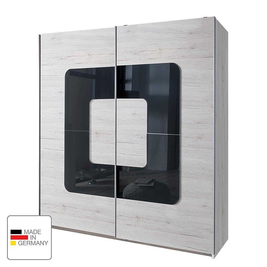 Schuifdeurkast Curve - Wit eikenhout/grijs glas, Wimex
