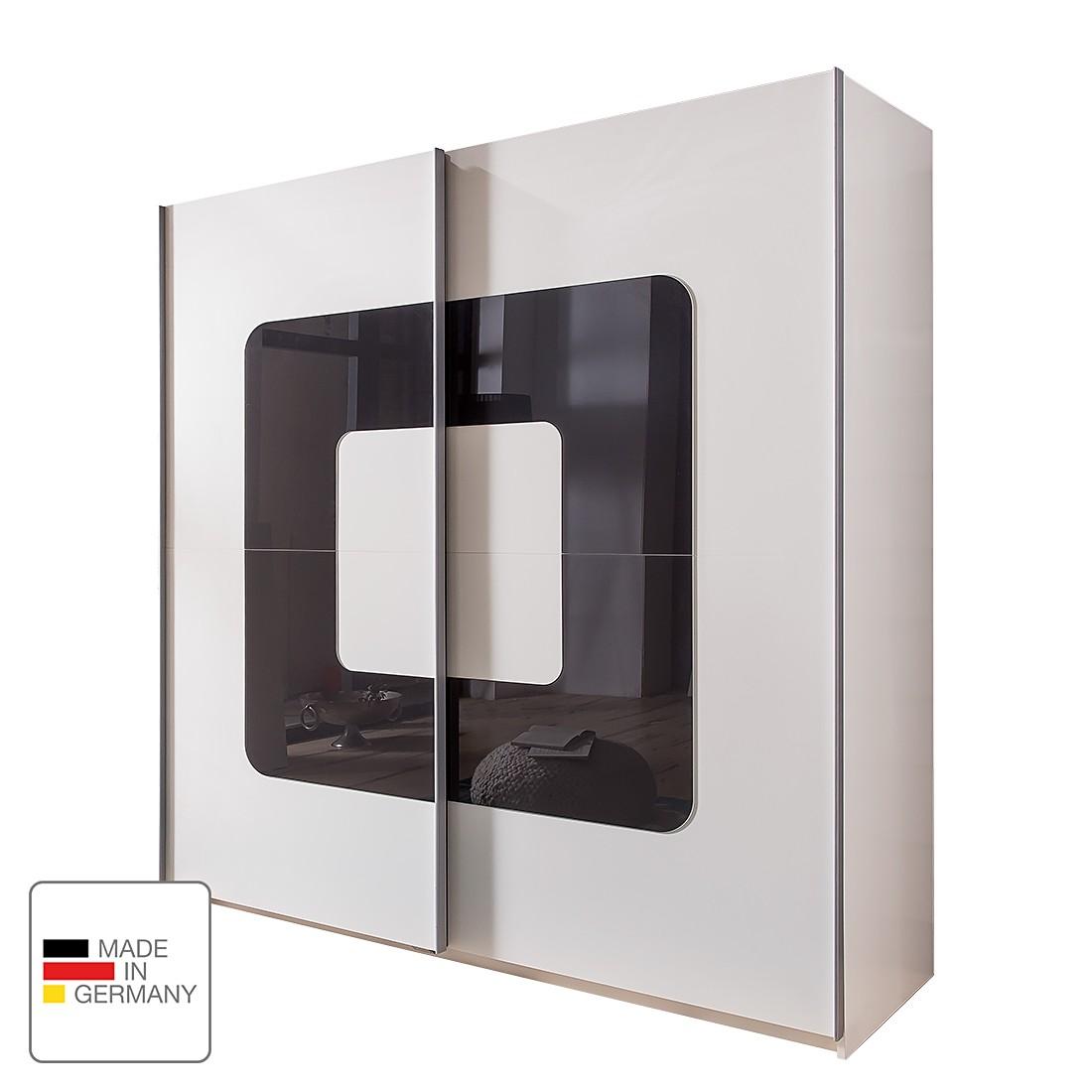 Armoire à portes coulissantes Curve - Blanc alpin / Verre gris, Wimex
