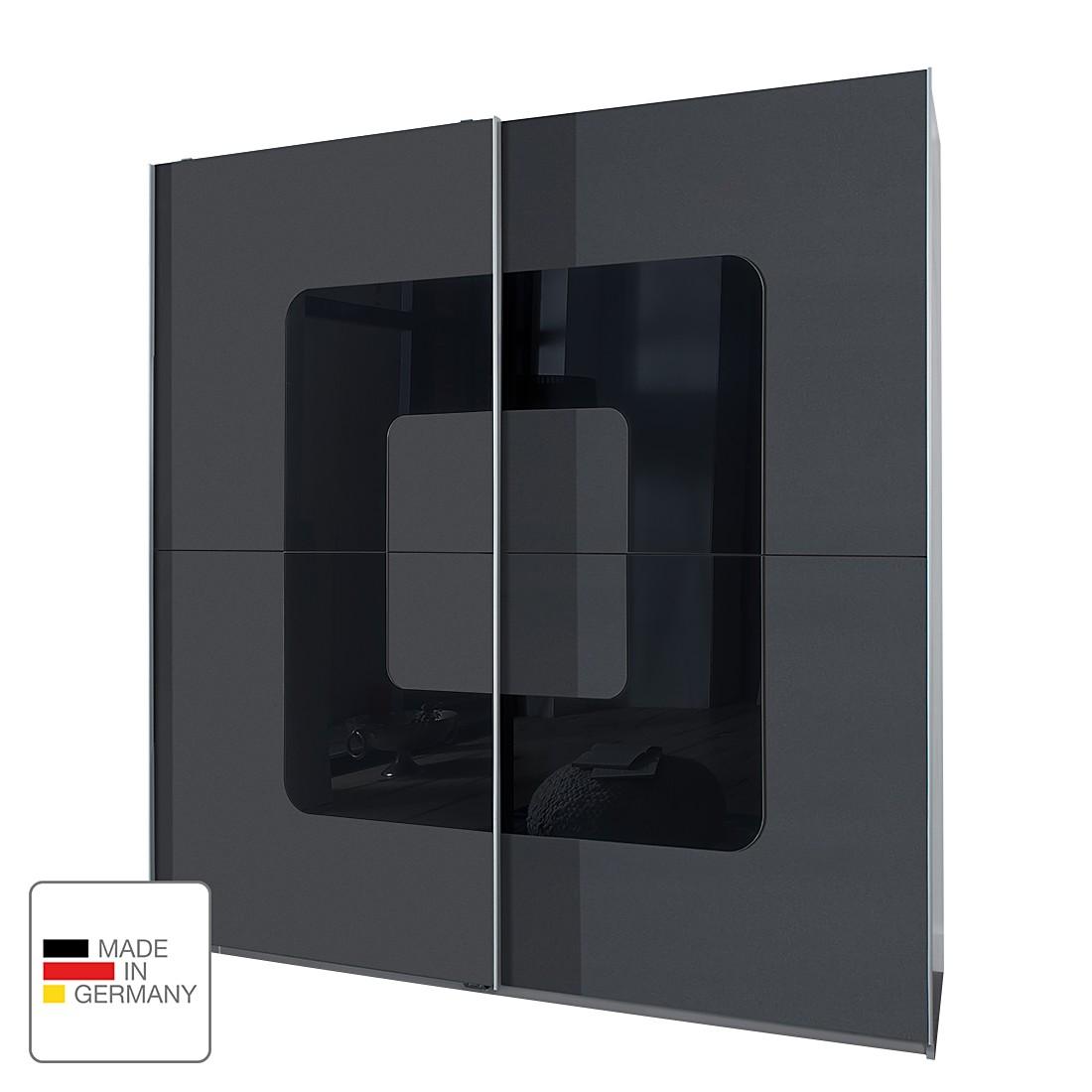 Schuifdeurkast Curve - Antracietkleurig/zwart glas, Wimex